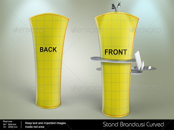Brandcusi Curved stand  - Product Mock-Ups Graphics