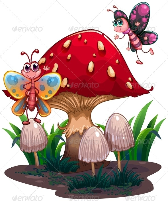Butterflies Flying Near a Giant Mushroom - Animals Characters