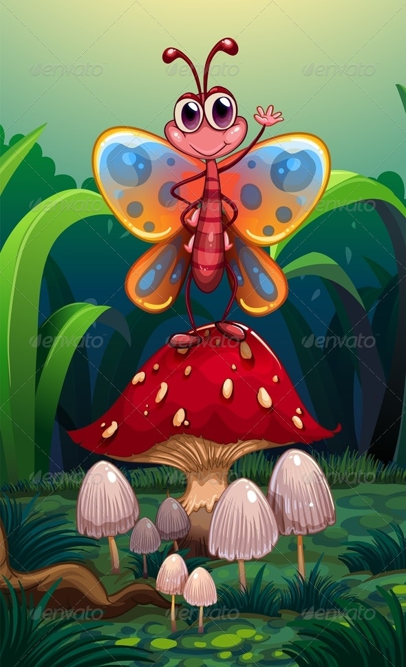 A Butterfly Standing Above the Big Red Mushroom - Animals Characters