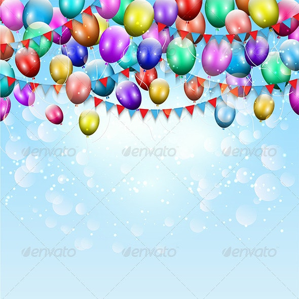 Balloons and Pennant Background - Seasons/Holidays Conceptual