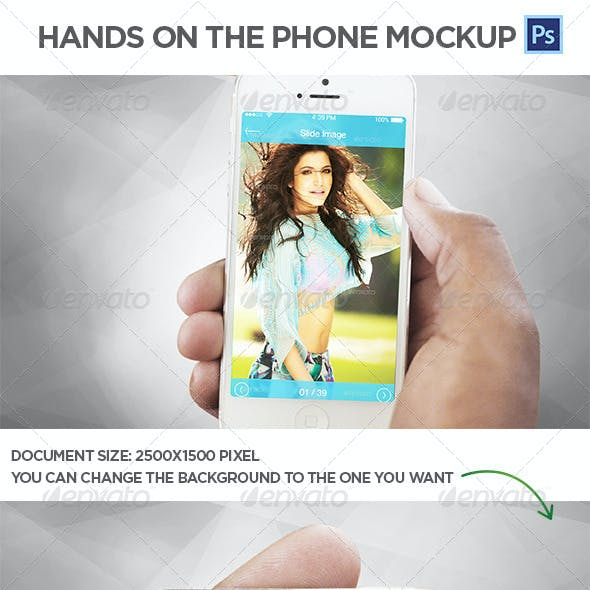 Hands on the Phone Mockup