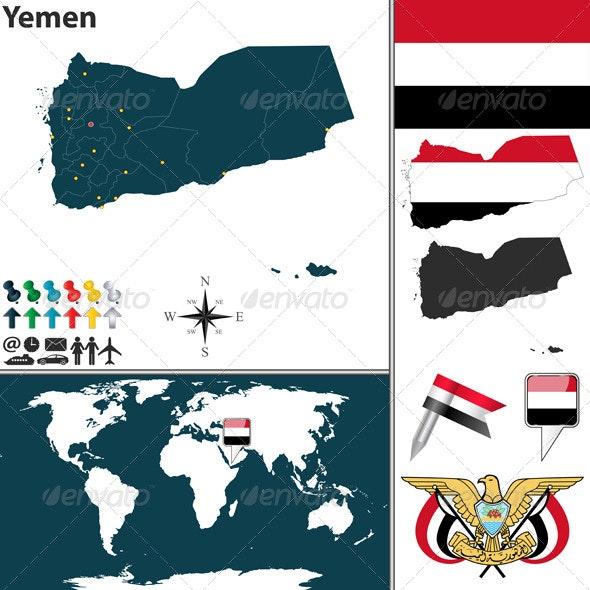 Map of Yemen - Travel Conceptual