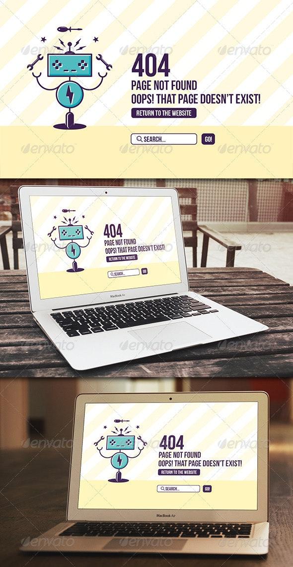 Robot 404 Error Page - 404 Pages Web Elements