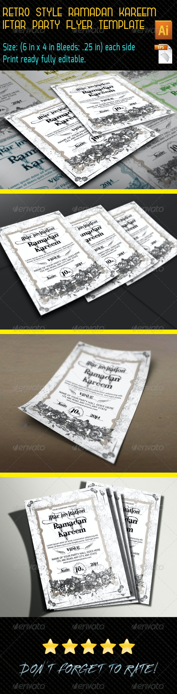 Retro Style Ramadan Kareem Flyer Template - Invitations Cards & Invites