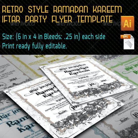 Retro Style Ramadan Kareem Flyer Template
