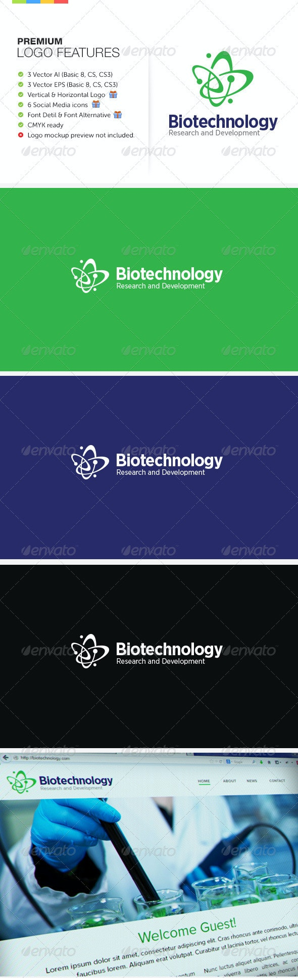 Biotechnology Research & Development - Symbols Logo Templates