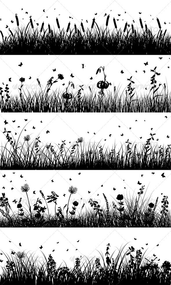 Meadow Silhouette - Flowers & Plants Nature