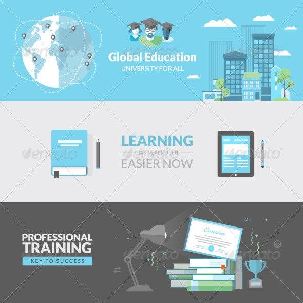 Flat Design Concepts for Education - Conceptual Vectors