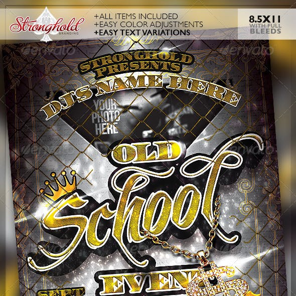 Old School Gold Event Flyer Template