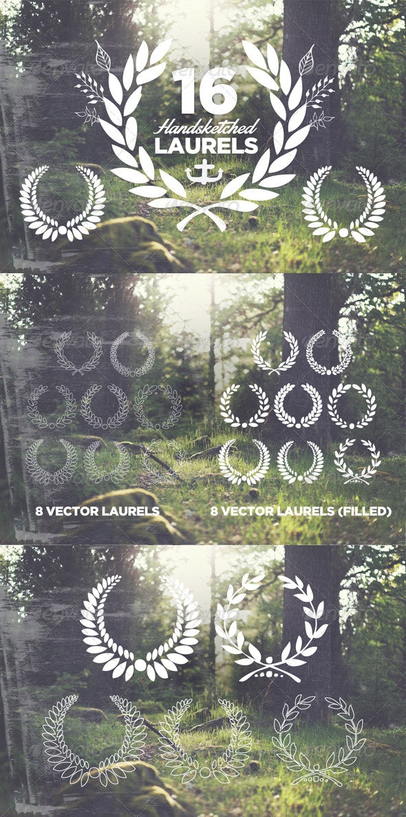 16 Handsketched Vector Laurels - Decorative Vectors