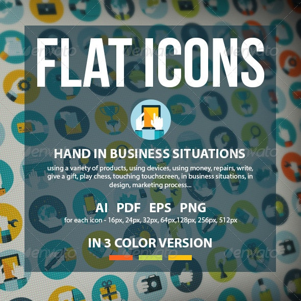 Set of Flat Design Hands Icons - Business Icons
