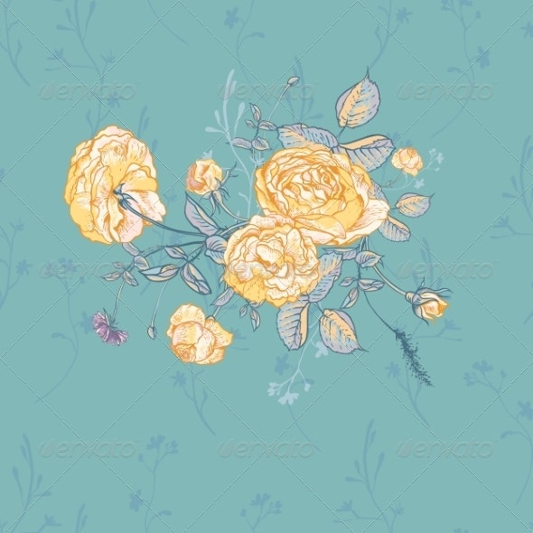 Vector Floral Greeting Card with Blossom Roses - Patterns Decorative