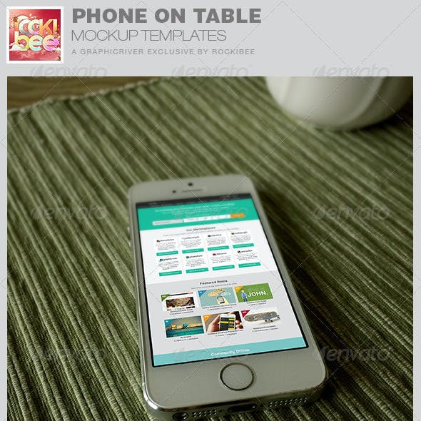 Phone on Table Mockup Templates