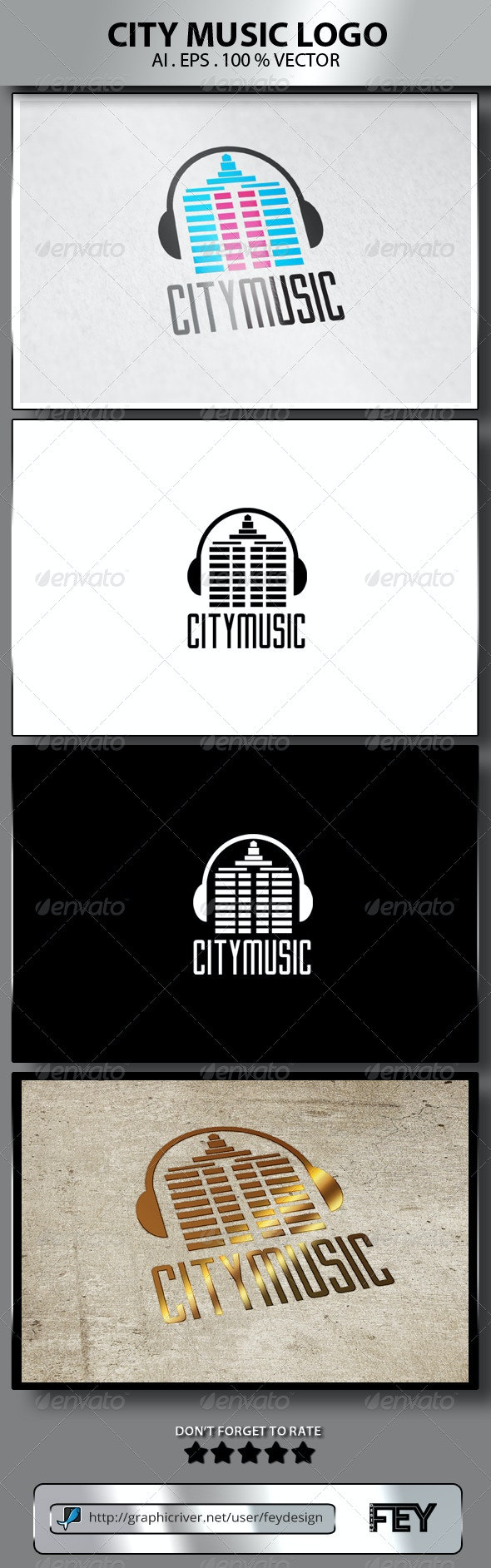 City Music Logo - Buildings Logo Templates