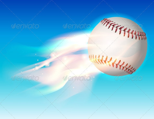 Vector Flaming Baseball in the Sky Illustration - Sports/Activity Conceptual