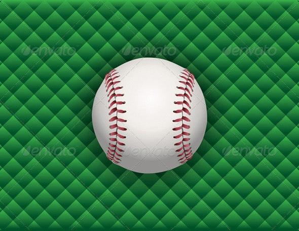 Vector Baseball on a Green Checkered Background - Sports/Activity Conceptual