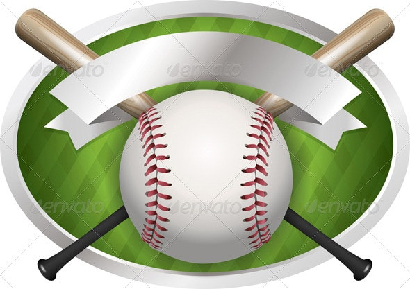 Vector Baseball and Bat Emblem Illustration - Sports/Activity Conceptual
