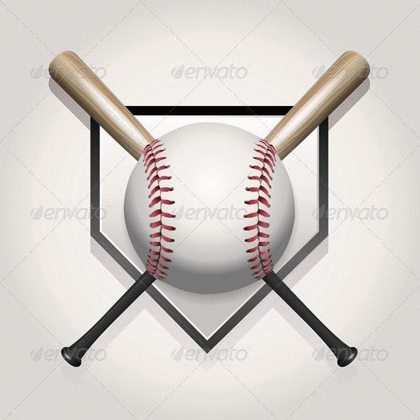 Vector Baseball, Bat, Homeplate Illustration - Sports/Activity Conceptual