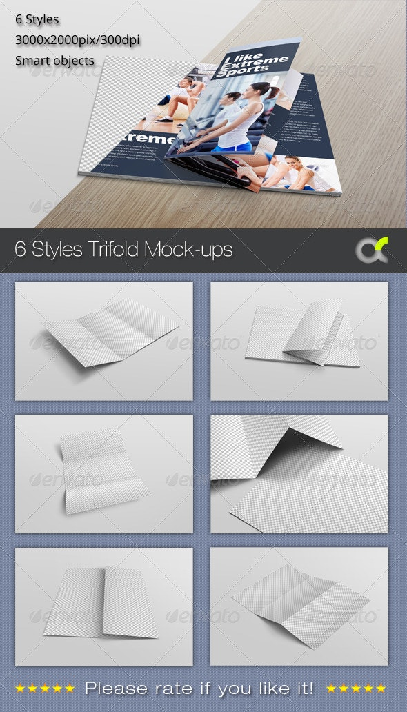 6 Styles Trifold Mock-ups - Product Mock-Ups Graphics