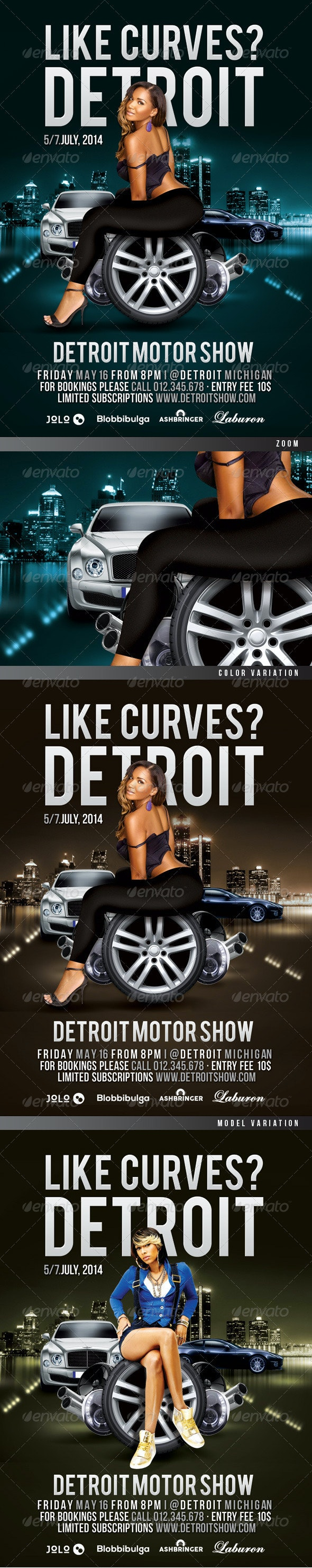 Like Curves In Detroit Motor Show - Print Templates