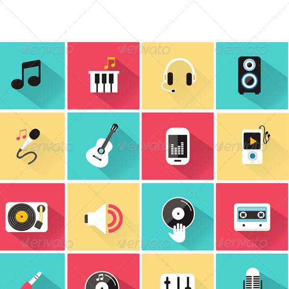 Vector Collection of Music Icon in Flat Style