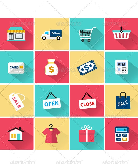 Vector Shopping Icon in Flat Style - Business Icons