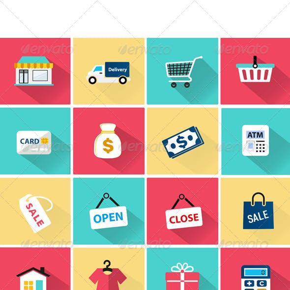 Vector Shopping Icon in Flat Style