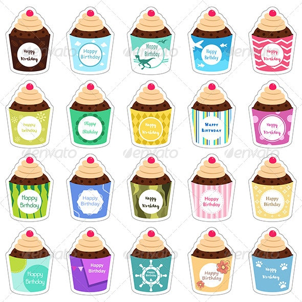 Birthday Cupcakes Icons - Food Objects