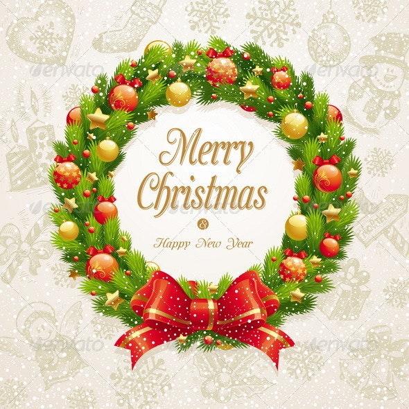 Christmas Wreath on a Hand Drawn Background - Christmas Seasons/Holidays