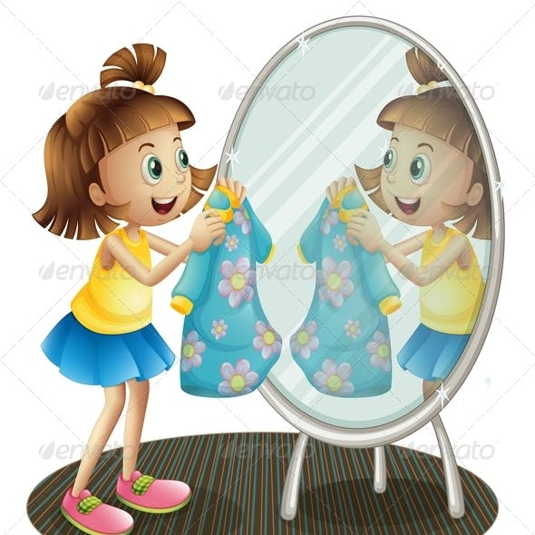 Girl Looking at the Mirror with Her Dress