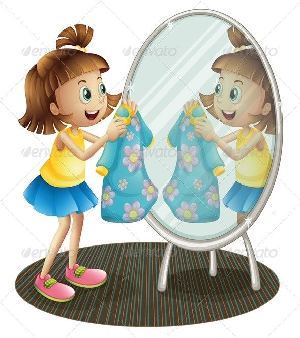 Girl Looking at the Mirror with Her Dress - People Characters