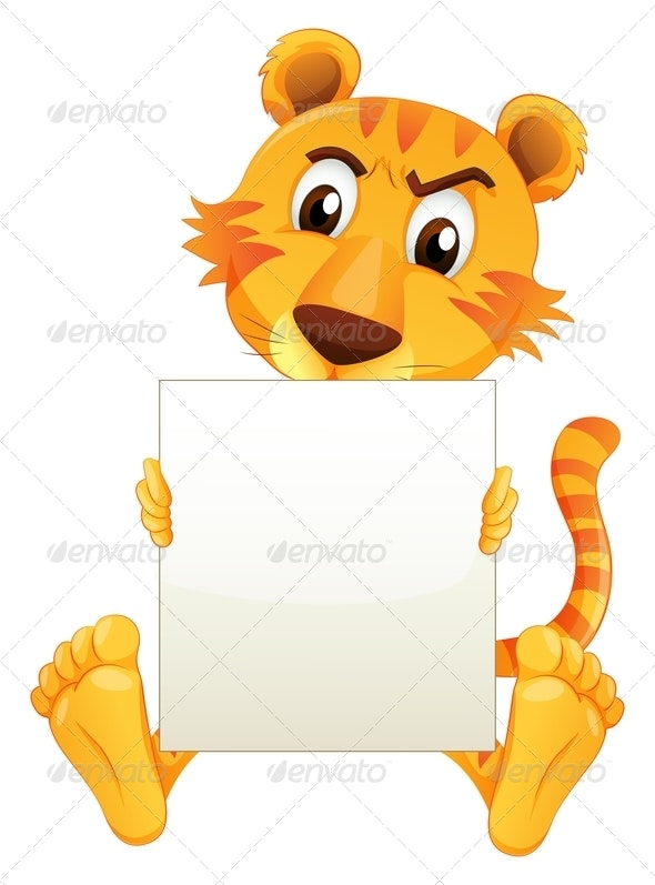 A Sad Tiger Sitting Holding an Empty Cardboard - Animals Characters