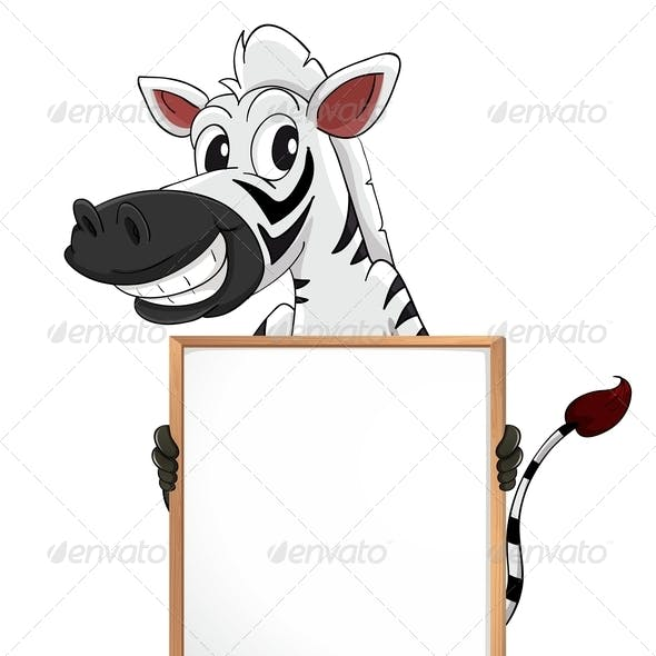 A Zebra Holding an Empty Board