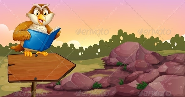 An Owl Reading a Book on a Wooden Arrow Board - Animals Characters