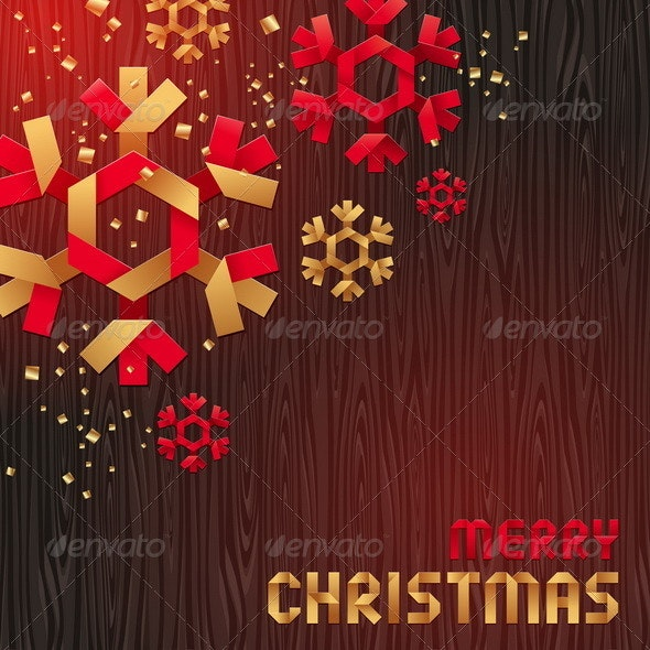 Decorative Paper Snowflakes on a Wood Background - Seasons/Holidays Conceptual