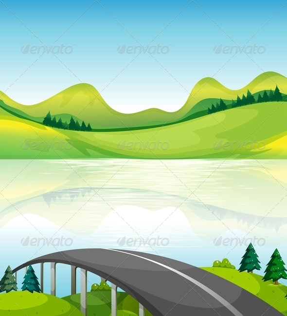 Road Bridge Near the Lake - Buildings Objects