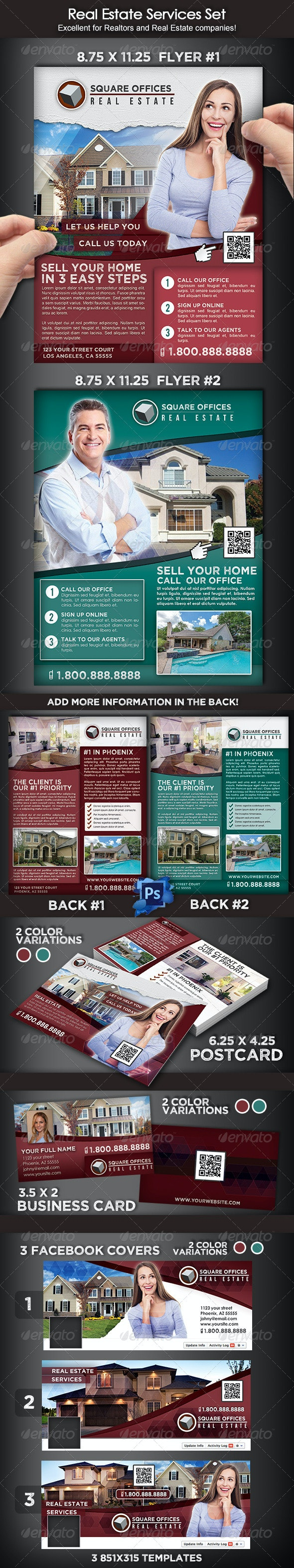 Real Estate Services Flyer Set - Corporate Flyers