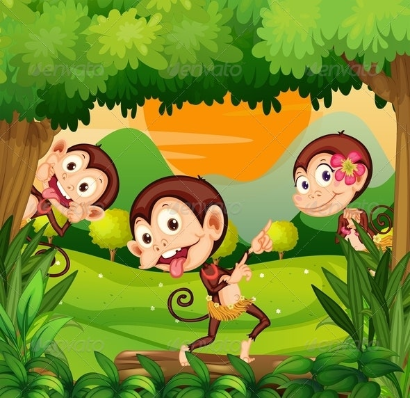 Three Monkeys Dancing in the Forest - Animals Characters