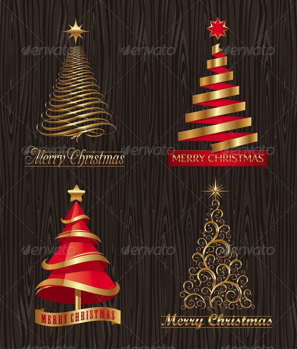Golden Decorative Christmas Trees - Seasons/Holidays Conceptual