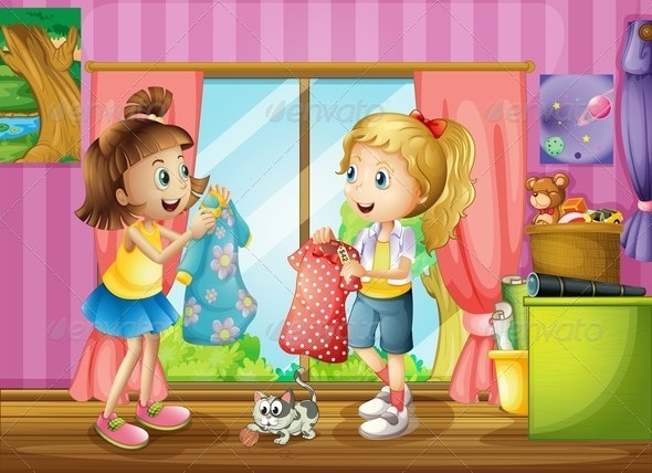 Two Girls Talking About their Dresses - People Characters
