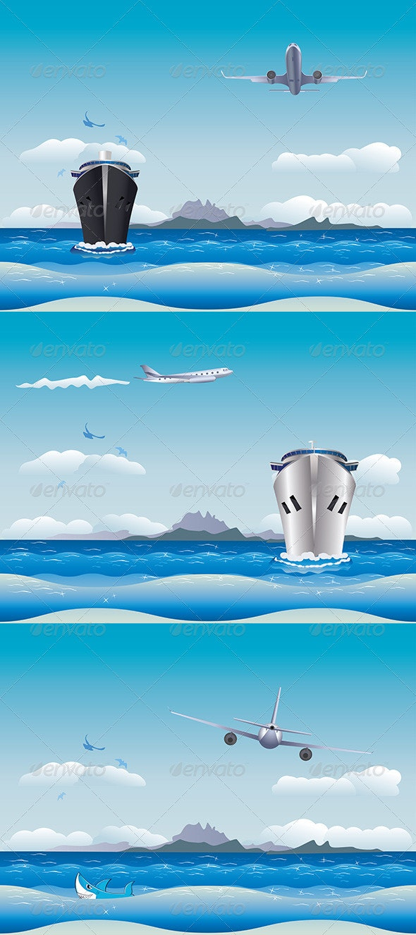 Airplane and Ship - Travel Conceptual