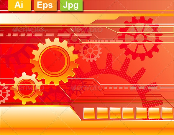 Red Background with Gears - Backgrounds Decorative