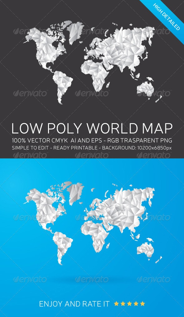 Low Poly World Map - Backgrounds Decorative