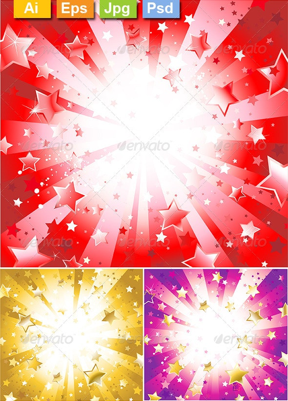 Radiant Red Background with Stars - Backgrounds Decorative