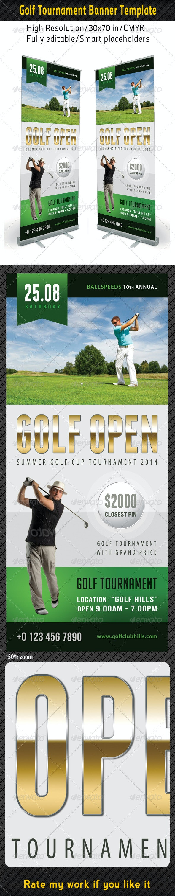 Golf Event Banner Template 03 - Signage Print Templates