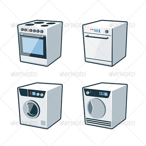 Home Appliances 2 - Cooker, Dishwasher, Dryer, Washer - Technology Conceptual