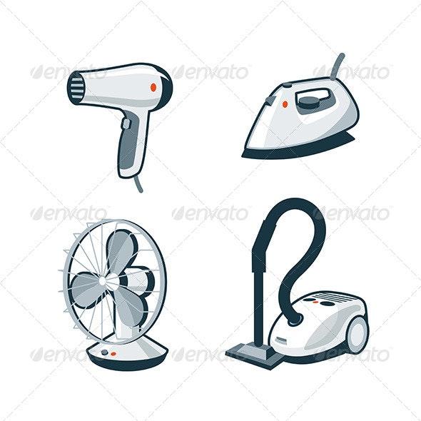 Home Appliances 5 - Hair Dryer, Iron, Fan, Vacuum  - Technology Conceptual
