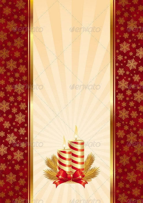 Vector Background With Christmas Candles - Christmas Seasons/Holidays