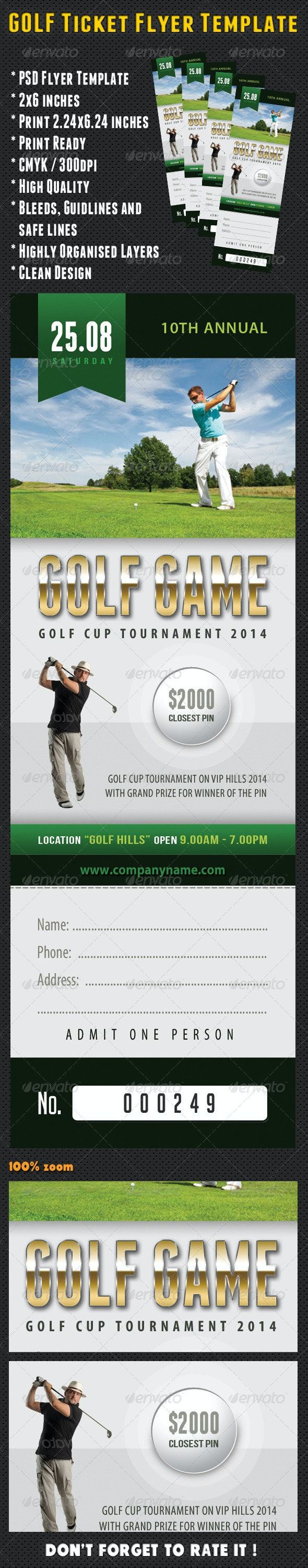 Golf Ticket Template 03 - Sports Events