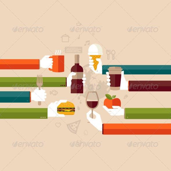 Flat Design Illustration Concept for Restaurants